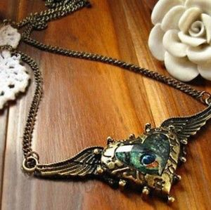 Angel Wing Heart Peacock Feather Pendant Necklace